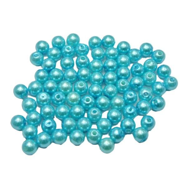 20 Perles Imitation 8mm Bleu Clair - Photo n°1