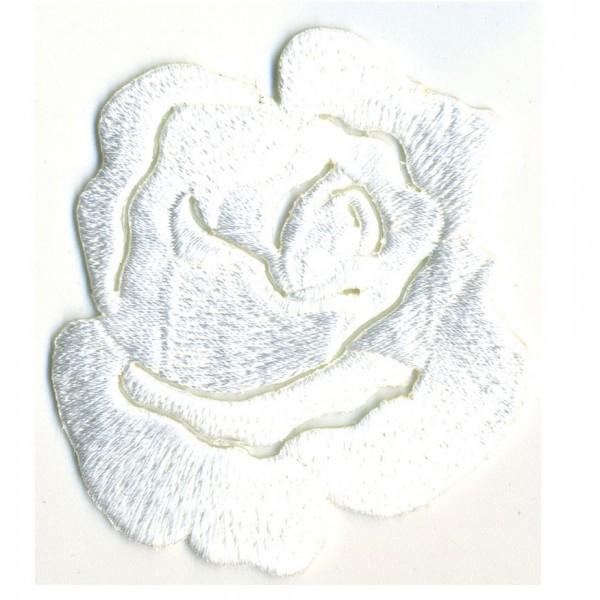 Ecusson thermocollant Rose blanc 4cmx5cm - Photo n°1