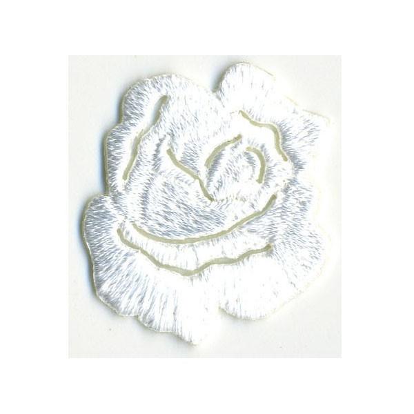Ecusson thermocollant petite rose blanc 3cmx3.5cm - Photo n°1