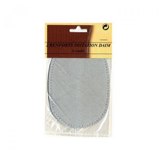 Renfort coude ou genoux gris imitation daim à coudre - Photo n°2