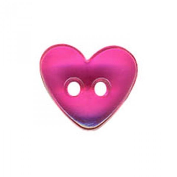 Bouton Coeur translucide couleur Fuchsia - Photo n°1