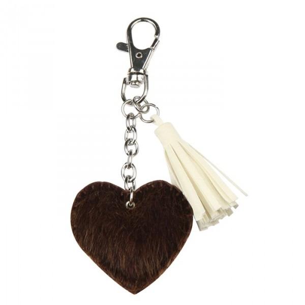 Porte-clé coeur en fourrure - Photo n°1