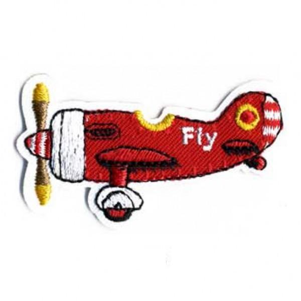 Ecusson thermocollant avion rouge 5.5cmx3cm - Photo n°1