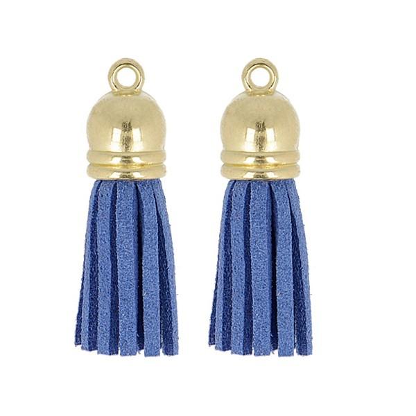 Lot de 2 pompons suedine 37mm Bleu - Photo n°1