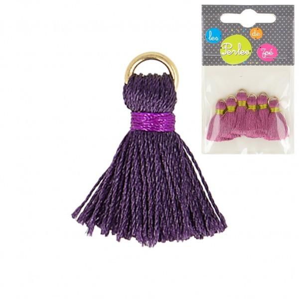 Lot de 6 mini pompons 2cm violet - Photo n°1