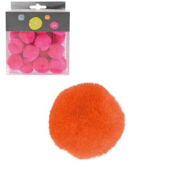 Lot de 25 petits pompons 3cm Orange - Photo n°1