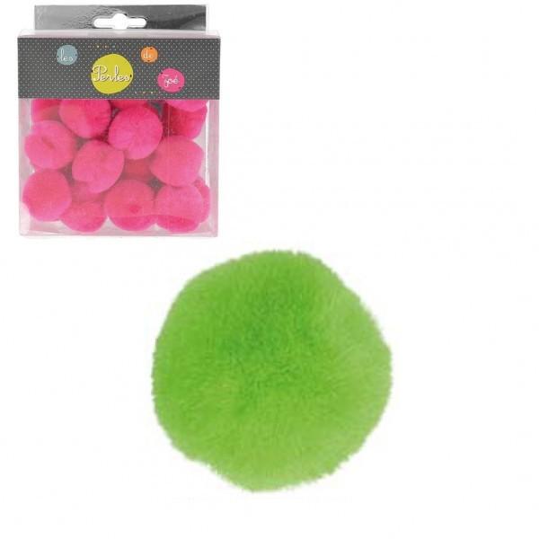 Lot de 25 petits pompons 3cm Vert - Photo n°1