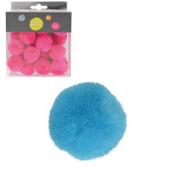 Lot de 25 petits pompons 3cm Turquoise - Photo n°1