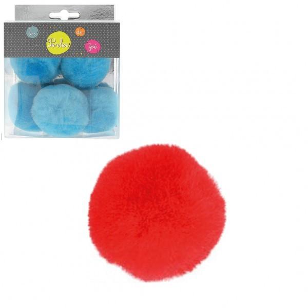Lot de 5 petits pompons 5cm Rouge - Photo n°1