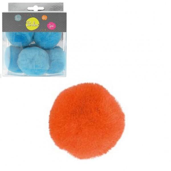 Lot de 5 petits pompons 5cm Orange - Photo n°1
