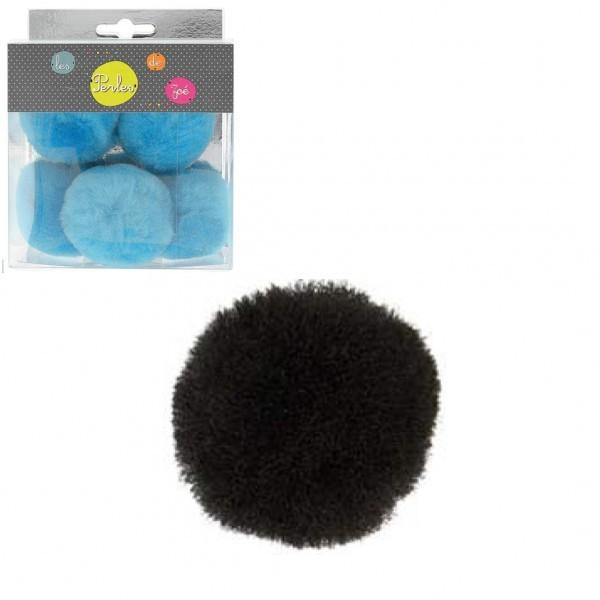 Lot de 5 petits pompons 5cm Noir - Photo n°1