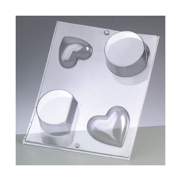 Moule à couler pour résine, cire, savon, 4 Formes: coeur et ronds - Photo n°1