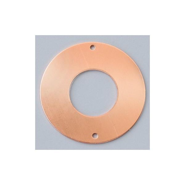 Pendentifs en cuivre Donut 2 trous, ø 35 mm, pour émaillage - Photo n°1