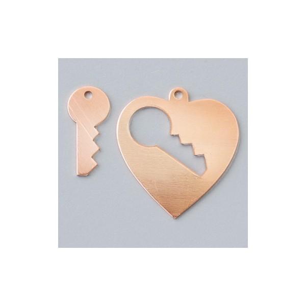 Pendentifs en cuivre Coeur avec clé 1 trou, 28 × 26 mm - Photo n°1
