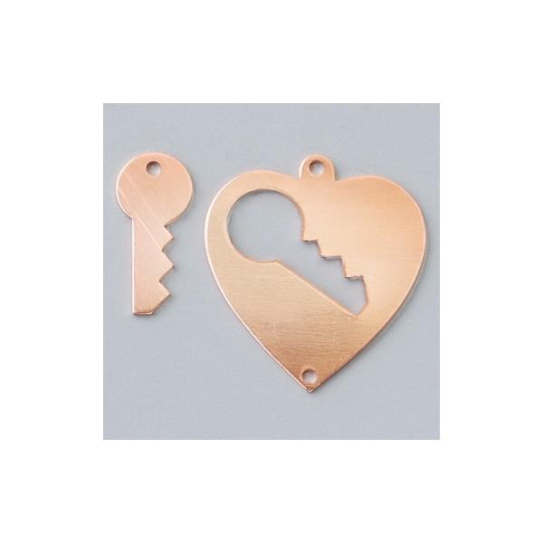 Pendentifs en cuivre Coeur avec clé 2 trous, 28 × 26 mm - Photo n°1