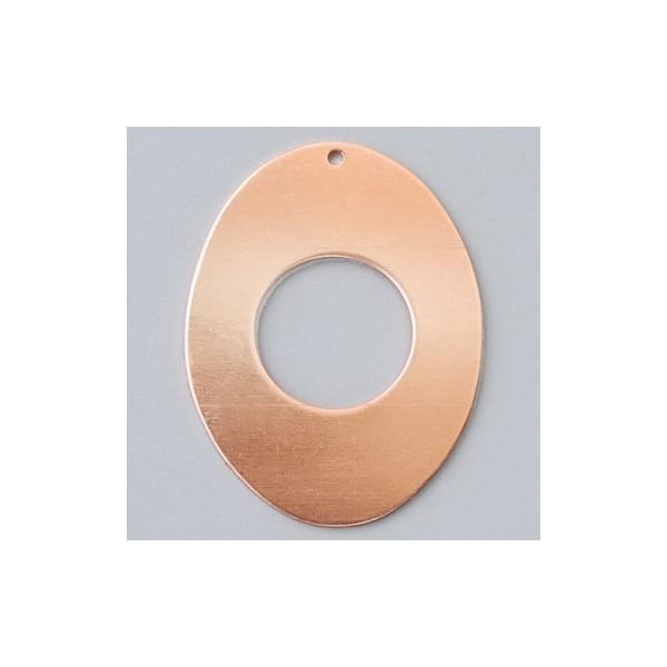 Pendentif en cuivre Ovale creux 1 trou, 41 x 31 mm, émaillage à froid - Photo n°1