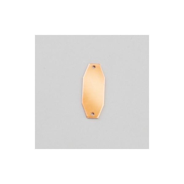 Pendentif en cuivre Octogonal 2 trous, ébauche 30x12 mm, émaillage à froid - Photo n°1