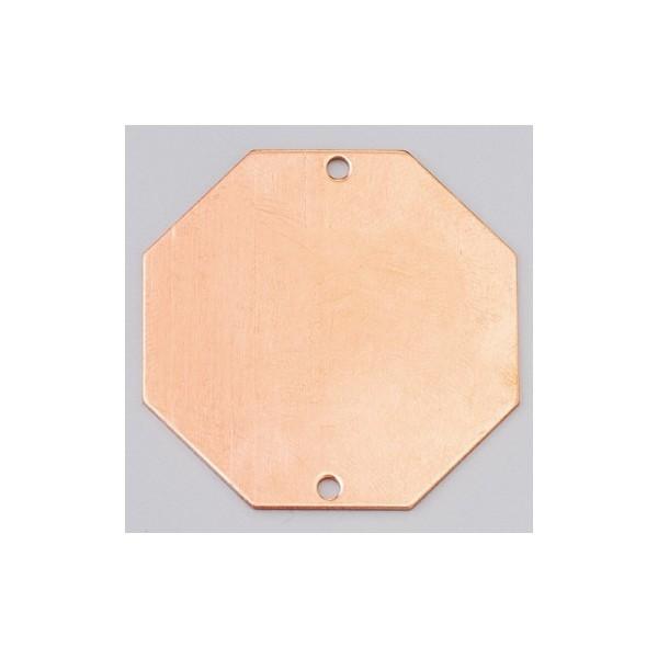 Pendentif en cuivre Octogonal 2 trous, ébauche ø 43 mm, émaillage à froid Efcolor - Photo n°1