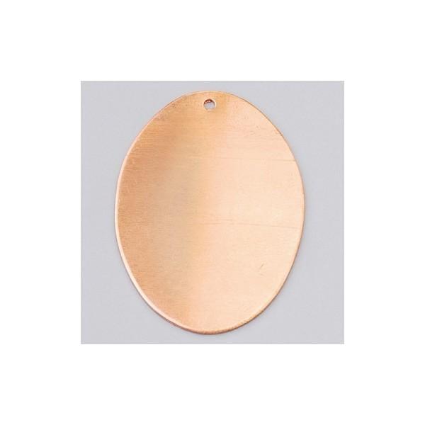Pendentif en cuivre Ovale 1 trou, ébauche 41 x 31 mm, émaillage à froid - Photo n°1