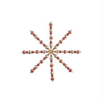 Set d'étoile de perles, Rouge et Doré, Diamètre 15 cm, en fil d'acier