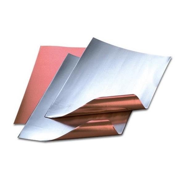 Lot de 3 Feuilles aluminium, cuivre / argenté, 20 x 30 cm, ép. 0,15 mm - Photo n°1