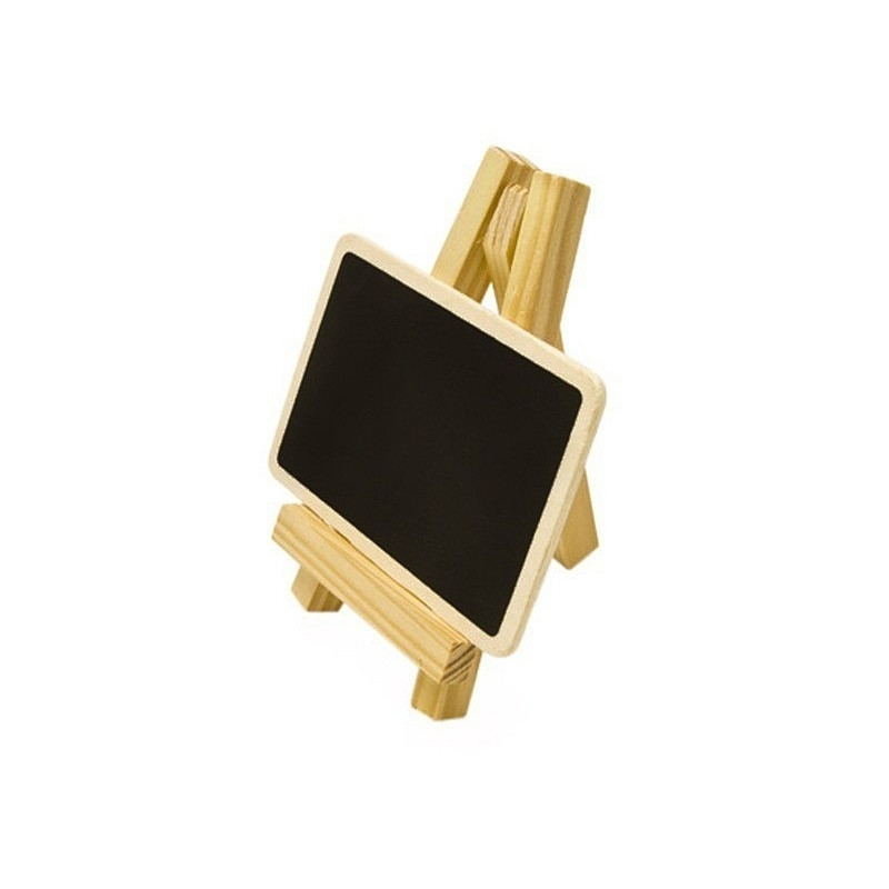 Mini Chevalet de table en bois avec ardoise à poser, trépied, haut. 10 cm -  Marque place divers - Creavea