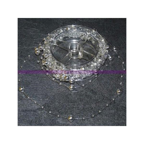 Guirlande décorative de perles Ø 5mm nacrées couleur argent, 5 mètres - Photo n°1