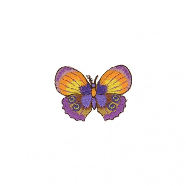 Lot de 3 écussons thermocollants Papillon violet jaune 4cm x 4cm - Photo n°1