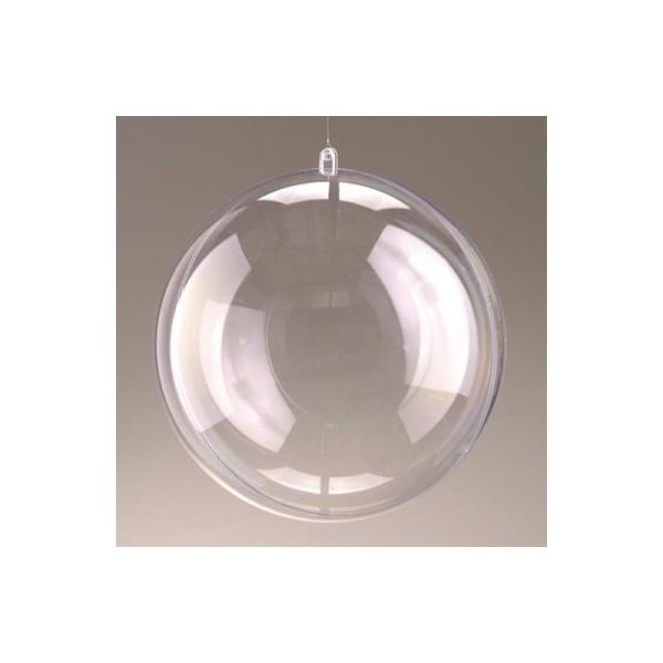 Lot de 2 Boules en plastique transparent séparable, diam. 16 cm, Contenant sécable ple - Photo n°1