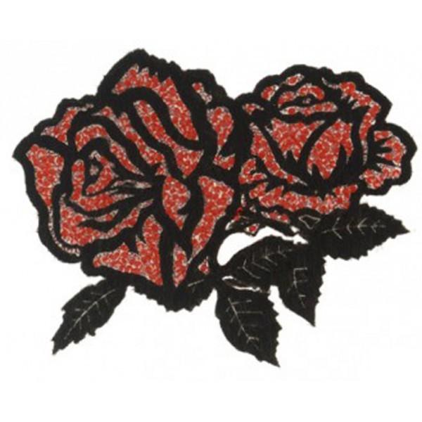 Ecusson thermocollant avec strass Rose double noir et rouge XL 12x10cm - Photo n°1