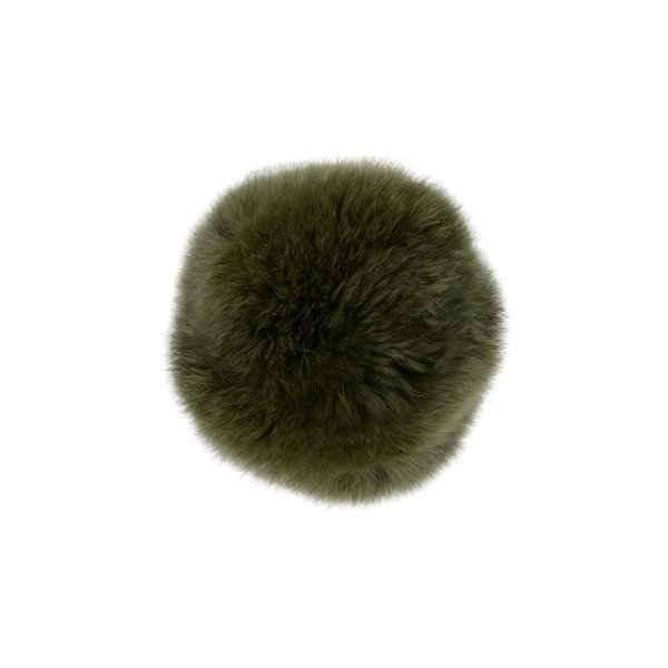 Pompon fourrure lapin 7cm kaki - Photo n°1