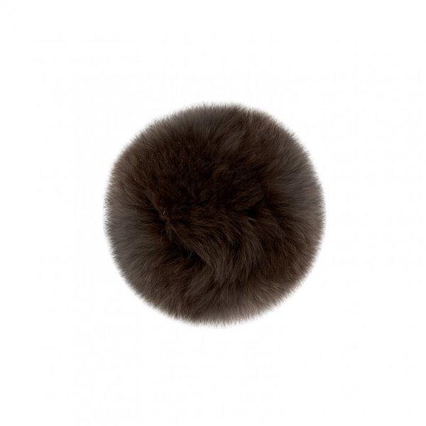 Pompon fourrure lapin 7cm marron - Photo n°1