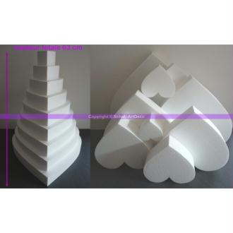 Pièce montée Coeur en polystyrène pro, 63 cm, 9 étages, haute densit&eac