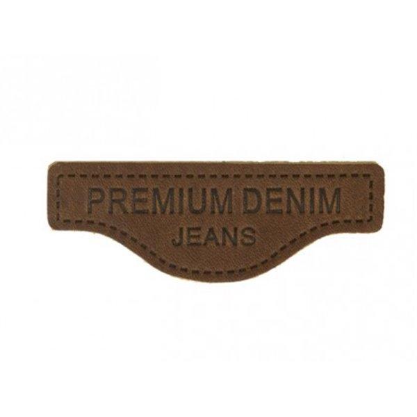Ecusson à coudre en cuir véritable marron 6x2cm - Photo n°1