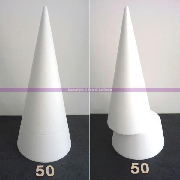 Grand Cône 50 cm, Présentoir Polystyrène en 2 parties, pro haute densité, - Photo n°1