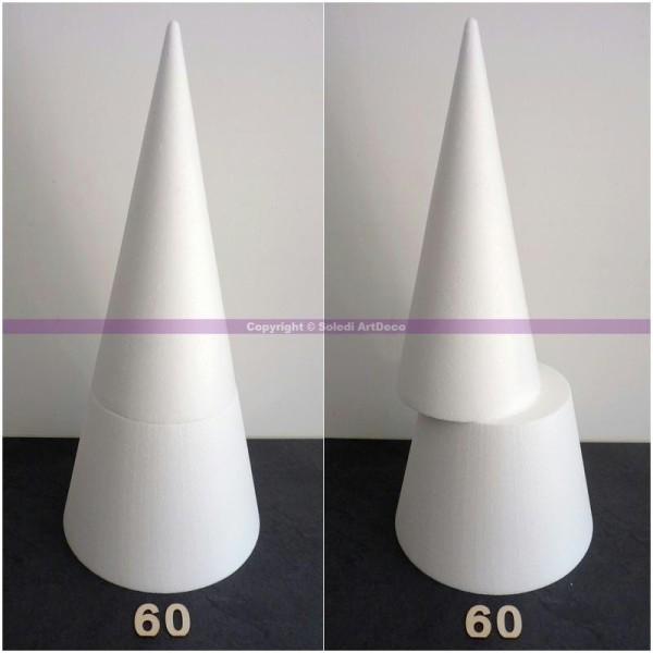 Grand cône pour présentoir en polystyrène 60cm de hauteur, Base 27cm, en 2 parti - Photo n°1