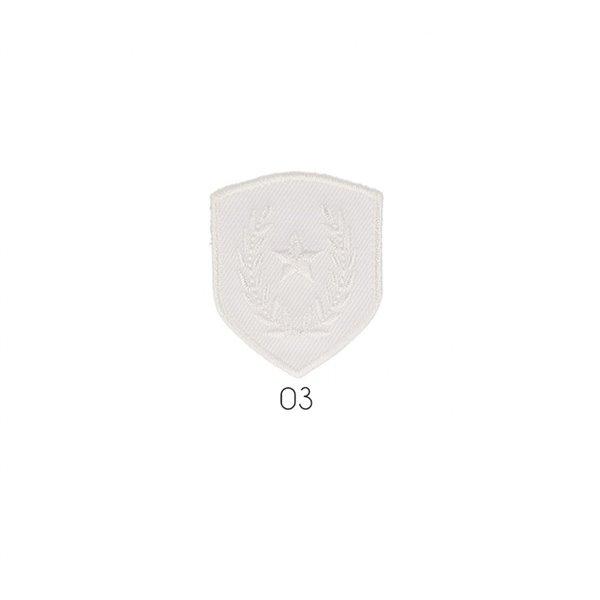 Ecusson thermocollant blason étoile sur laurier blanc  4x3,5cm - Photo n°1