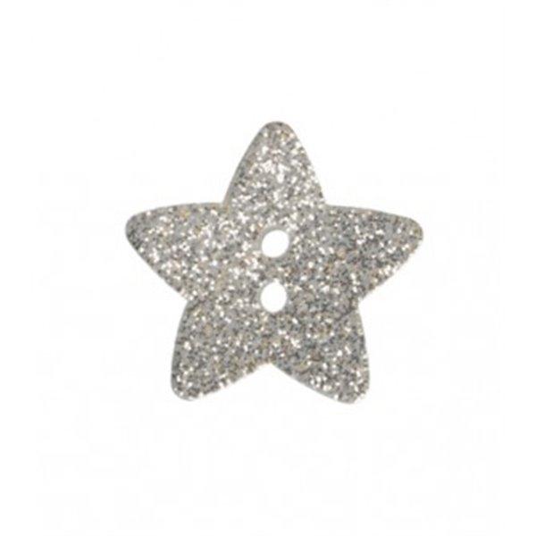 Bouton étoile paillettée argent 11mm - Photo n°1