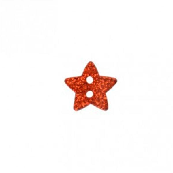 Bouton étoile paillettée rouge 18mm - Photo n°1