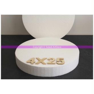 Disque épaisseur 4 cm, diamètre 25 cm, polystyrène pro haute densité, 28