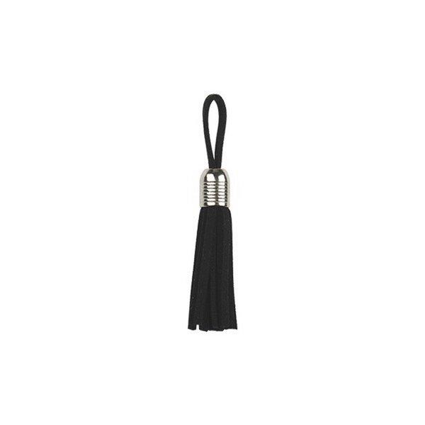 Set 6 pièces Pompons frange en cuir noir 55x25cm - Photo n°1