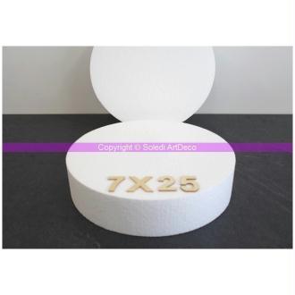 Disque épaisseur 7 cm, diamètre 25 cm, polystyrène pro haute densité, 28