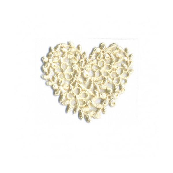 Ecusson thermocollant cœur broderie naturel 40mm x45mm - Photo n°1