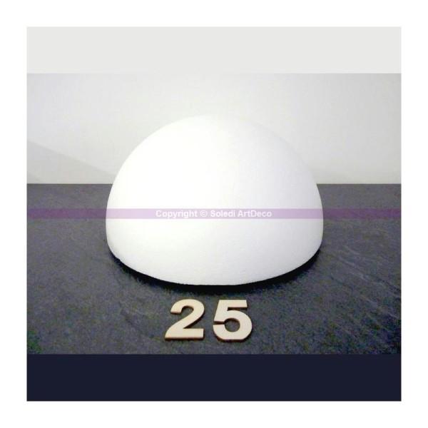Lot de 2 Demi-Sphères de 12 cm de diamètre Dômes pleins en polystyrène de 6 cm
