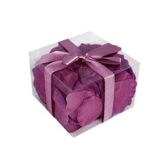 Lot de 100 Pétales de Rose couleur Prune, en tissu, 5,5 x 3,5 cm