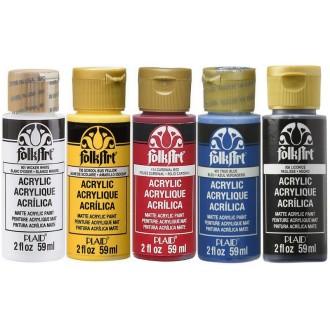 Peintures crémeuses acryliques FolkArt 59ml, couleurs primaires, lot de 5 flacons