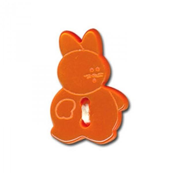 Lot de 6 boutons en forme de Lapin couleur Orange - Photo n°1