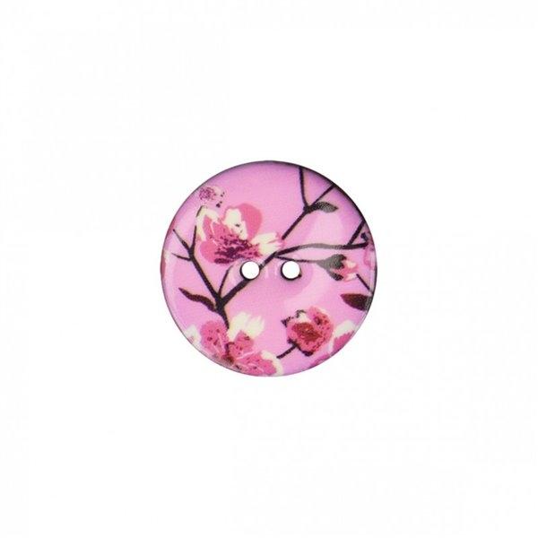 Lot de 6 boutons coco décoré fleurs de cerisiers 23mm - Photo n°1