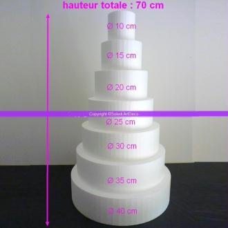 Pièce montée Wedding Cake en Polystyrène haute densité, 70 cm