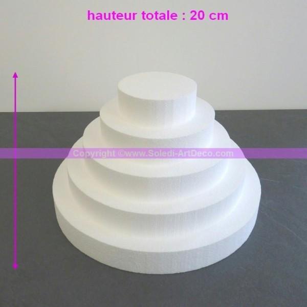 Petite Pièce montée en polystyrène haute densité, haut. 20 cm, diam. Bas - Photo n°1